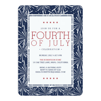 Modern Fireworks Fourth of July Party Card