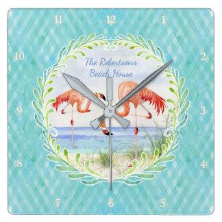 Modern Flamingo Beach Ocean Sand Shore Aqua Blue Square Wall Clock