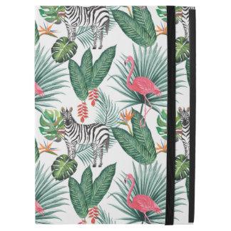 "Modern flamingo zebra tropical leaf watercolor iPad pro 12.9"" case"