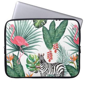 Modern flamingo zebra tropical leaf watercolor laptop sleeve