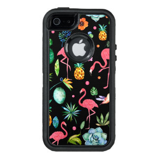 Modern Flamingos With Tropical Flowers & Leafs OtterBox Defender iPhone Case