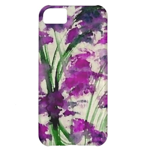 Modern Floral Abstract Purple Flowers in the Wind iPhone 5C Cases