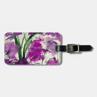 Modern Floral Abstract Purple Flowers in the Wind Luggage Tag