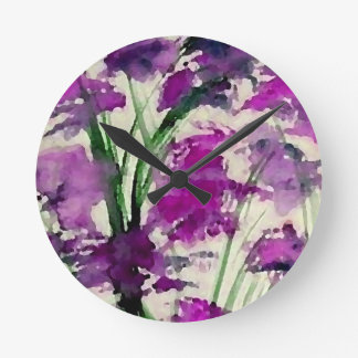 Modern Floral Abstract Purple Flowers in the Wind Wall Clock