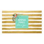 Modern Floral Aqua and Gold Foil Stripes Pack Of Standard Business Cards