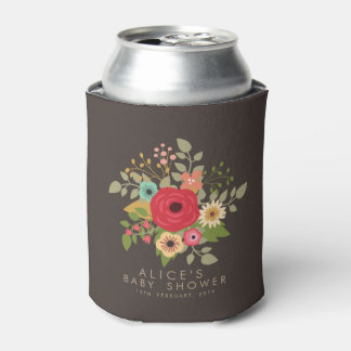MODERN FLORAL BABY SHOWER CAN HOLDER COOLER