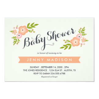 Modern Floral Baby Shower Invitation