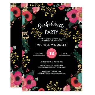 Modern Floral Bachelorette Party Invitations
