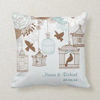 Modern Floral Birdcage Blue Cushion