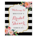 Modern Floral Black Stripes Bridal Shower Sign