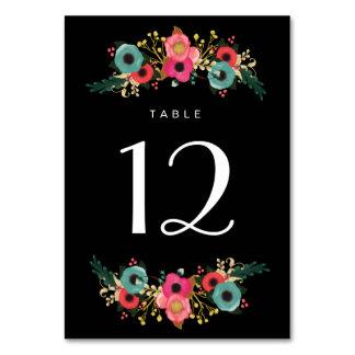 Modern Floral Black Wedding Table Number Cards