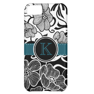 Modern Floral Black White Teal Ribbon Monogrammed iPhone 5C Case