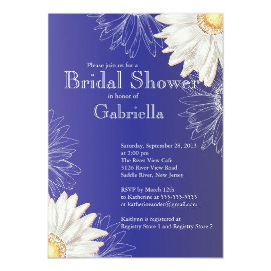 Modern Floral Blue Daisy Bridal Shower Card