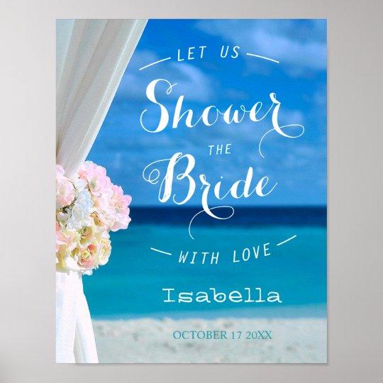 Modern Floral Blue Ocean Beach Bridal Shower Sign
