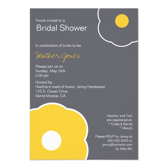 Modern Floral Bridal Shower Invitation Yellow/Grey