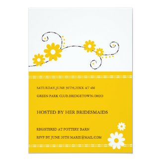 Modern Floral Bridal Shower Invitations -Yellow