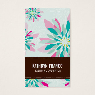 MODERN FLORAL bright simple abstract flower dahlia Business Card