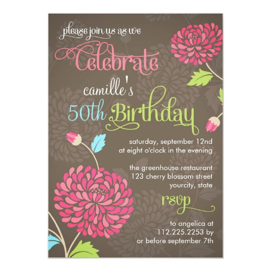 Modern Floral Brown & Pink Fancy Birthday Party Card