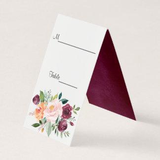 Modern Floral Burgundy Escort Cards