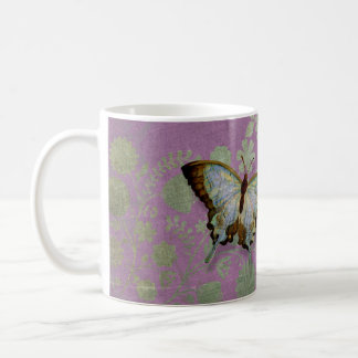 Modern Floral Butterfly w Abstranct Flower Blossom Basic White Mug
