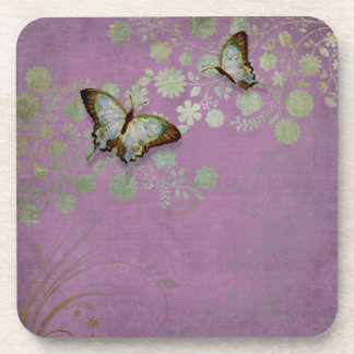 Modern Floral Butterfly w Abstranct Flower Blossom Beverage Coasters