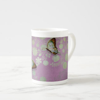 Modern Floral Butterfly w Abstranct Flower Blossom Bone China Mug