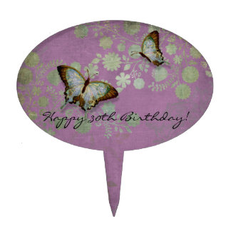 Modern Floral Butterfly w Abstranct Flower Blossom Cake Pick