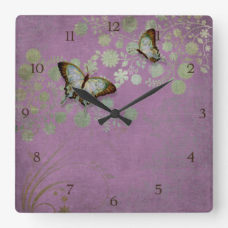 Modern Floral Butterfly w Abstranct Flower Blossom Clock
