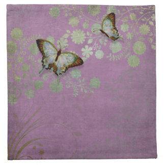 Modern Floral Butterfly w Abstranct Flower Blossom Printed Napkins
