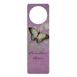Modern Floral Butterfly w Abstranct Flower Blossom Door Hangers