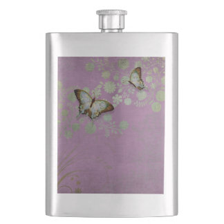 Modern Floral Butterfly w Abstranct Flower Blossom Flasks