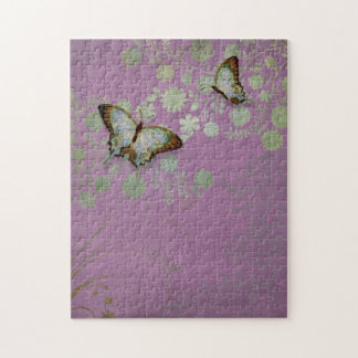 Modern Floral Butterfly w Abstranct Flower Blossom Jigsaw Puzzles