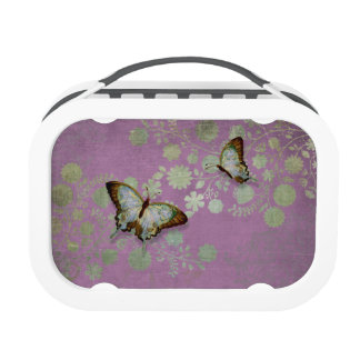 Modern Floral Butterfly w Abstranct Flower Blossom Lunch Boxes