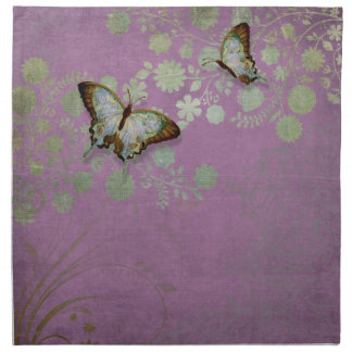 Modern Floral Butterfly w Abstranct Flower Blossom Napkin