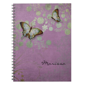 Modern Floral Butterfly w Abstranct Flower Blossom Notebook