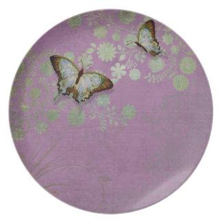 Modern Floral Butterfly w Abstranct Flower Blossom Dinner Plate