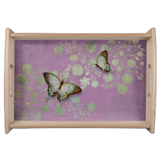 Modern Floral Butterfly w Abstranct Flower Blossom Serving Platter