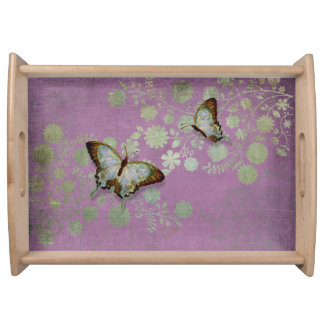 Modern Floral Butterfly w Abstranct Flower Blossom Serving Platters