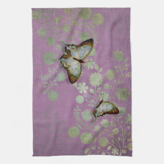 Modern Floral Butterfly w Abstranct Flower Blossom Kitchen Towels