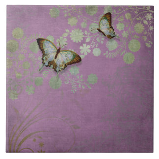 Modern Floral Butterfly w Abstranct Flower Blossom Large Square Tile
