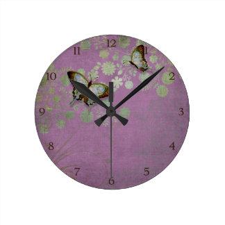 Modern Floral Butterfly w Abstranct Flower Blossom Wallclocks
