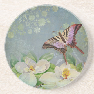 Modern Floral Butterfly w Magnolia Flower Blossom Beverage Coasters