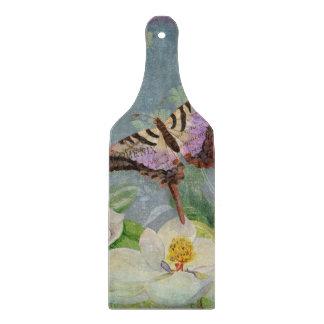 Modern Floral Butterfly w Magnolia Flower Blossom Cutting Boards