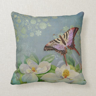 Modern Floral Butterfly w Magnolia Flower Blossom Cushions