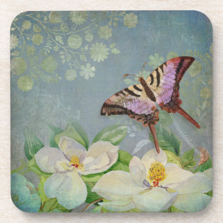 Modern Floral Butterfly w Magnolia Flower Blossom Drink Coaster