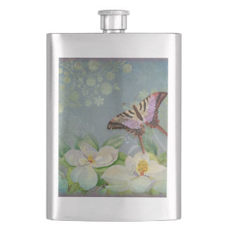 Modern Floral Butterfly w Magnolia Flower Blossom Flask