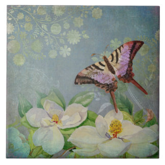 Modern Floral Butterfly w Magnolia Flower Blossom Large Square Tile