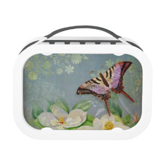 Modern Floral Butterfly w Magnolia Flower Blossom Lunchbox
