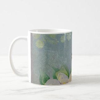 Modern Floral Butterfly w Magnolia Flower Blossom Mugs