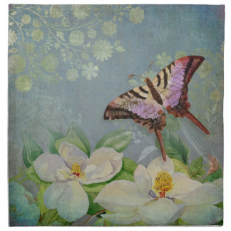 Modern Floral Butterfly w Magnolia Flower Blossom Napkins